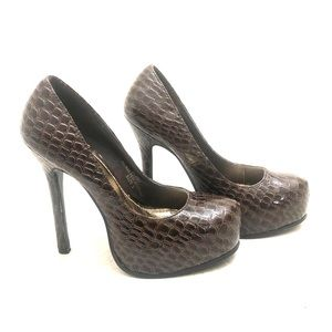 Snake Skin Pumps - Brown - Size 6
